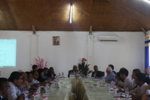 Ministro Agricultura e Pescas, Estanislau Aleixo da Silva hala'o enkontru ho Parseiru lokal ho Internasional sira.Fotografer/Elsio Jong/Info-MAP